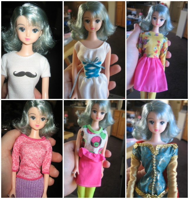 Trying on  tons of outfits from my 'bag of unclaimed clothing'... some of these are ok, and I'll keep them separate for her (I like each of my dolls to have their own unique wardrobe).